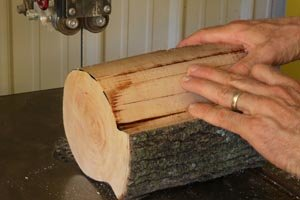 Create two ends from center piece of bird feeder using a band saw.